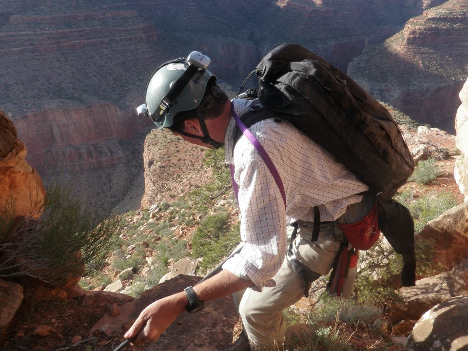 James descending Isis Temple, Grand Canyon National Park. Photo: Mike Lowe